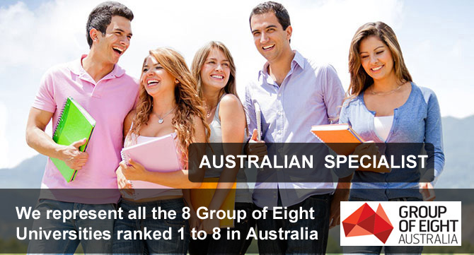 we represents all the group of eight universities ranked 1 to 8 in Australia