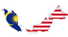 malaysian map with flag