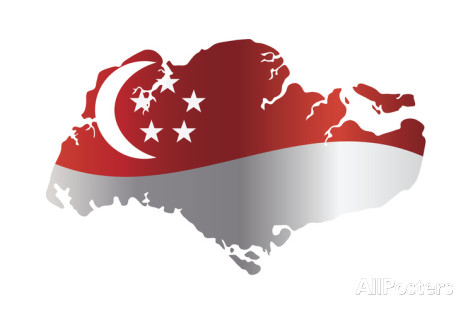 singapore map with flag